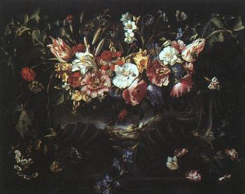 Graphic Garland of Flowers with Landscape