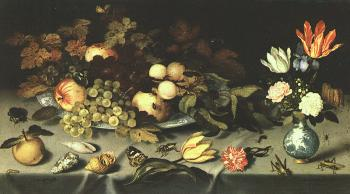 Balthasar Van Der Ast : Graphic Flowers and Fruit
