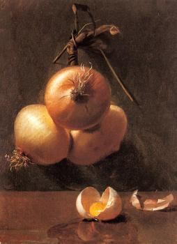 Berta Bache : A Still Life with Onions and a Cracked Egg