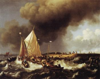 Ludolf Backhuysen : Boats in a Storm