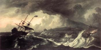 Ludolf Backhuysen : Ships Running Aground in a Storm