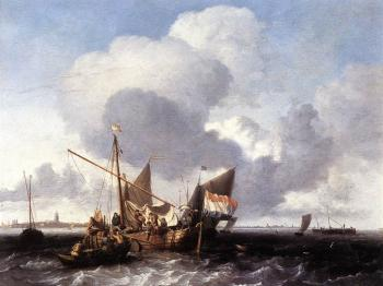 Ships on the Zuiderzee before the Fort of Naarden