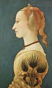 Alessio Baldovinetti : Graphic Portrait of a Lady in Yellow