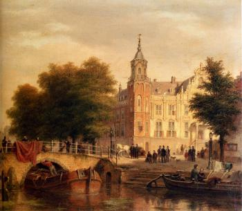 A Sunlit Townview With Figures Gathered On A Square Along A Canal