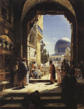 Gustav Bauernfiend : At the Entrance to the Temple Mount, Jerusalem