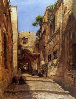 Gustav Bauernfiend : David Street in Jerusalem