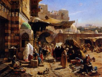 Gustav Bauernfiend : Market at Jaffa