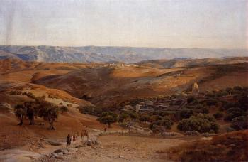 Gustav Bauernfiend : Mountains of Moab Seen from Bethany