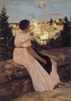 Frederic Bazille : The Pink Dress (View of Castelnau-le-Lez, Herault)