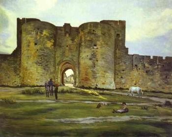 Frederic Bazille : Port of the Queen at Aigues-Mortes