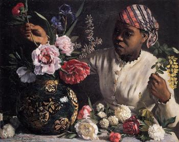 Frederic Bazille : Jean Frederic African woman with Peonies