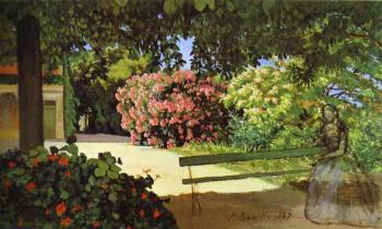 Frederic Bazille : The Terrace at Meric (Oleander)