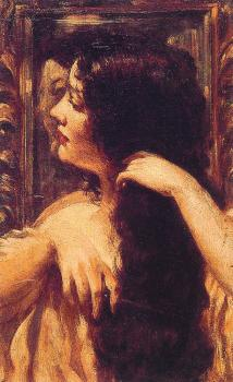 James Carroll Beckwith : Brunette Combing Her Hair