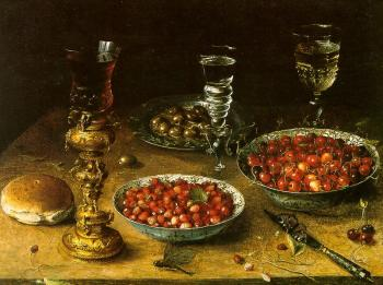 Osias Beert : Graphic Still-Life with Cherries and Strawberries in China Bowls