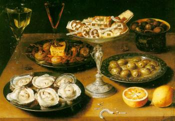 Graphic Still-Life with Oysters and Pastries