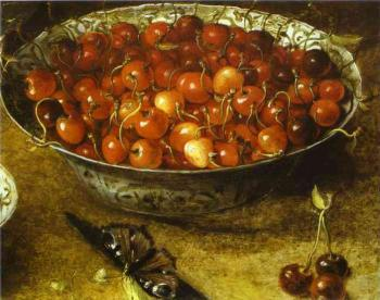 Still Life with Cherries and Strawberries in Porcelain Bowls