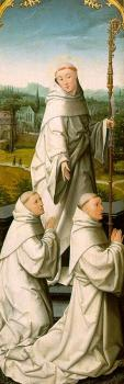 The Retable of Le Cellier (triptych), inner-left panel featuring St Bernard and Cistercian Monks