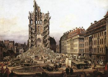 Bernardo Bellotto : The Ruins of the Old Kreuzkirche in Dresden