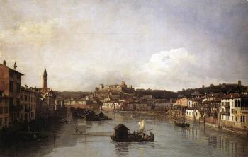 Bernardo Bellotto : View of Verona and the River Adige from the Ponte Nuovo