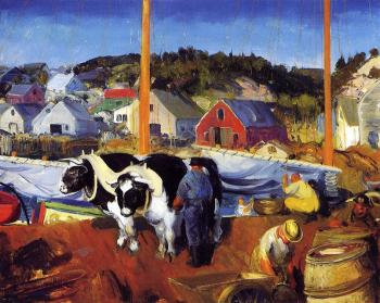 George Bellows : Ox Team, Wharf at Matinicus