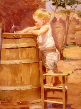 Benito Rebolledo Correa : A Boy At A Water Barrel