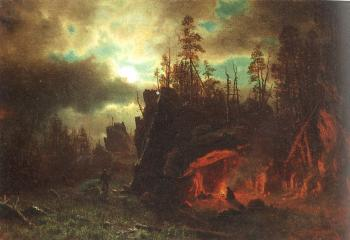 Albert Bierstadt : The Trappers' Camp