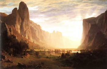 Albert Bierstadt : Looking Down the Yosemite Valley, California