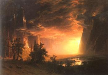 Albert Bierstadt : Sunset in the Yosemite Valley