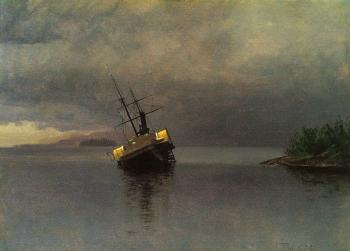 Albert Bierstadt : Wreck of the Ancon in Loring Bay, Alaska