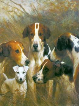 Foxhounds and a Hunt Terrier
