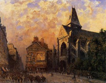 Frank Boggs : Scene of a Street in front of the Church of Saint-Medard