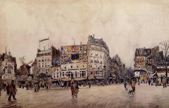 Frank Boggs : The Moulin Rouge and the Rue Lepic as Seen from the Place Bl