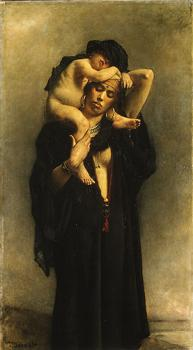 Leon Bonnat : An Egyptian Peasant Woman and Her Child