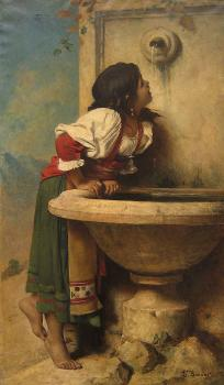 Leon Bonnat : Roman Girl at a Fountain by French painter Leon Bonnat