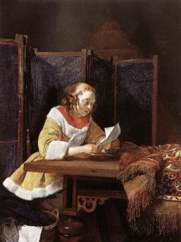 Gerard Ter Borch : A Lady Reading A Letter
