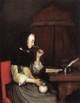 Gerard Ter Borch : Woman Drinking Wine