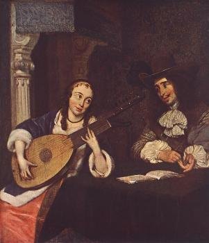 Gerard Ter Borch : Woman Playing The Lute