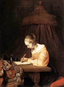 Gerard Ter Borch : Woman Writing A Letter