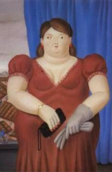 Fernando Botero : the girl with red dress at villa cortes