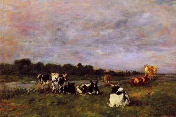 Eugene Boudin : A Pasture on the Banks of the Touques
