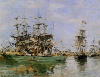 Eugene Boudin : A Three Masted Ship in Port