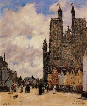 Eugene Boudin : Abbeville, Street and the Church of Saint-Folfran
