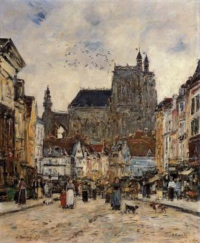 Eugene Boudin : Abbeville, Street and the Church of Saint-Vulfran