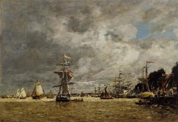 Eugene Boudin : Anvers, Boats on the Ecaut
