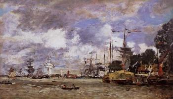 Eugene Boudin : Anvers, Boats on the River Scheldt