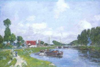 Eugene Boudin : Barges on the Canal, Saint-Valery-sur-Somme
