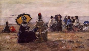 Eugene Boudin : Beach Scene, the Yellow Parasol