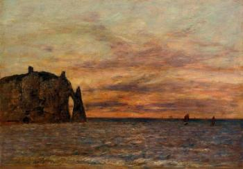 Etretat, La Falaise d'Aval on Sunset