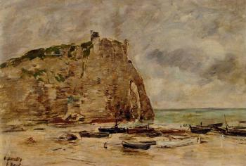 Etretat, Beached Boats and the Cliff of Aval