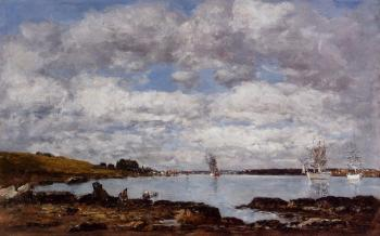 Eugene Boudin : Kerhorl, the Bay, Mouth of the River Landerneau
